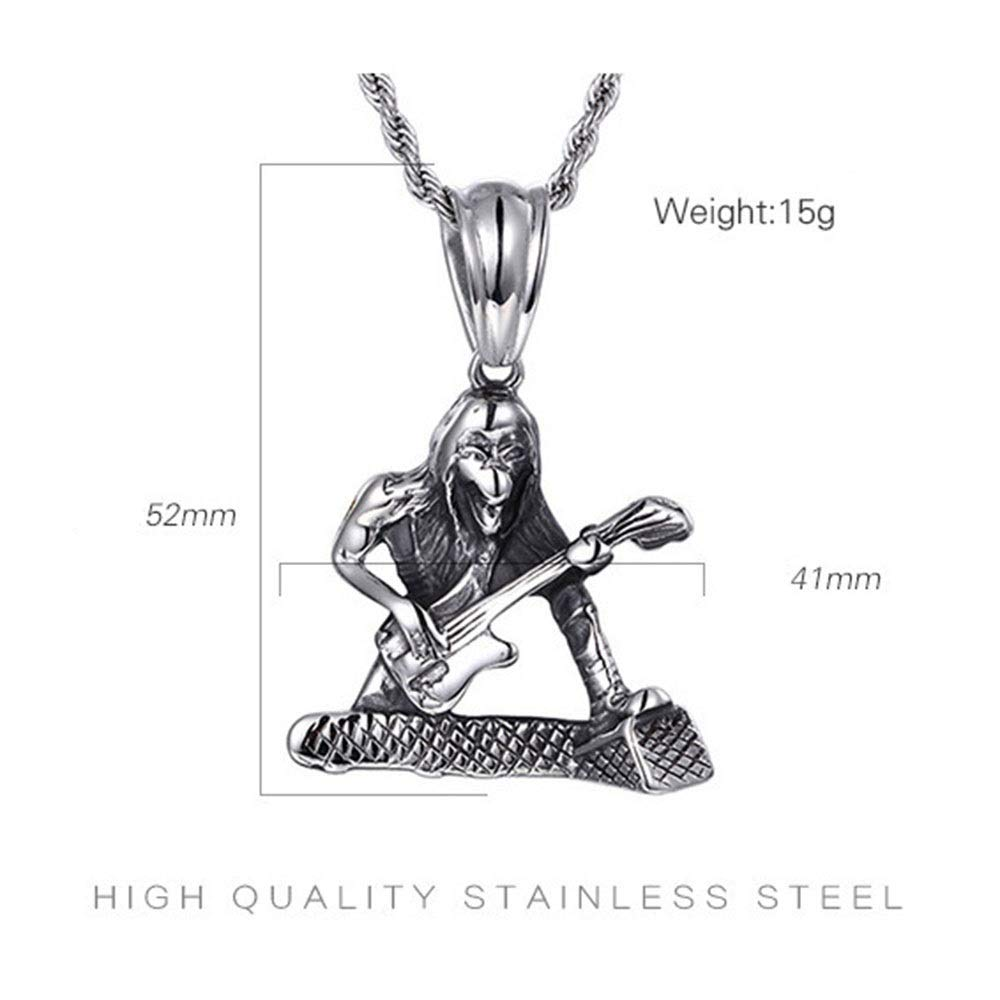 Color : Silver Black, Size : 5241MM Han cheng he Mens Pendant Mens Silver Black Gothic Playing Guitar Pendant Stainless Steel Necklace for Men Boy Jewelry Steampunk Pendants Jewelry for Men Choker