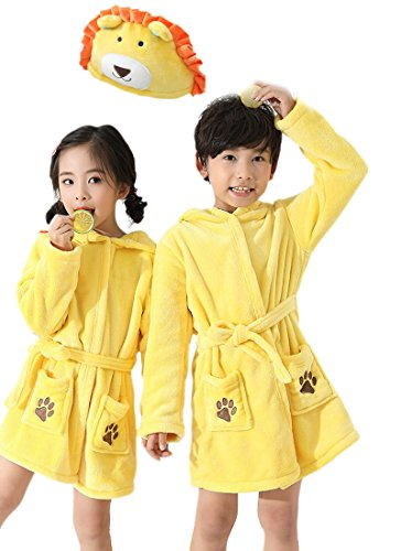 EPLAZA 3-6 Year Girl Boy Flannel Hooded Cute Animal Robe Sleepwear Kid Bathrobe Convertible Pillow (Tag 120, Yellow Lion) by EPLAZA (Image #7)