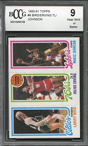 1980-81 topps #6 LARRY BIRD /ERVING / MAGIC JOHNSON rookie card BGS BCCG 9 Graded (1980 Larry Bird)