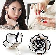 Cute Women Lady Girls Black & White Rose Flower Stud Earr