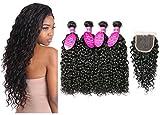 Brazilian Virgin Hair 4 Bundles with Closure Water Wave Hair Bundles with 4x4 Free Part Closure Unprocessed Virgin Human Hair (20 22 24 26 with 18, Natural Color)