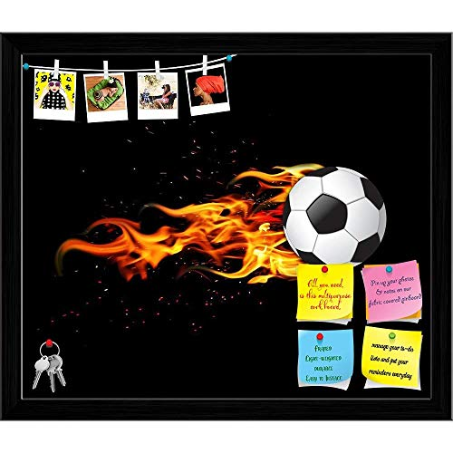 Artzfolio Soccer Ball On Fire Printed Bulletin Board Notice Pin Board | Black Frame 23.6 X 20Inch