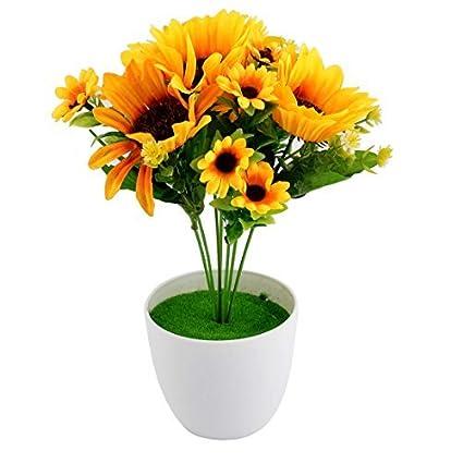 Oficina plástico DealMux arte de DIY decorativo simulación artificial de girasol amarillo de la flor