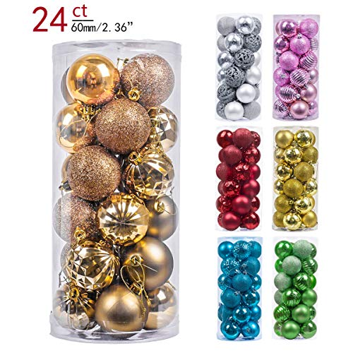 - Valery Madelyn 24ct 60mm Essential Copper Gold Basic Ball Shatterproof Christmas Ball Ornaments Decoration,Themed with Tree Skirt(Not Included)