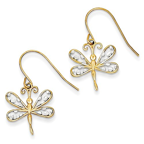 14k Yellow Gold & Rhodium Diamond-cut Dragonfly Shepherd Hook Earrings
