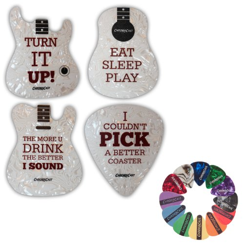 ChromaCast Assorted Guitar Shaped Coasters product image