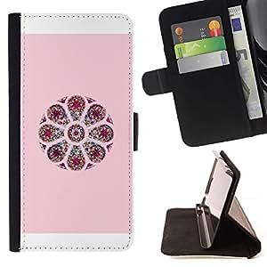 For Apple iPhone 5C Case , Diseño floral rosado del pétalo de la flor de la India- la tarjeta de Crédito Slots PU Funda de cuero Monedero caso cubierta de piel