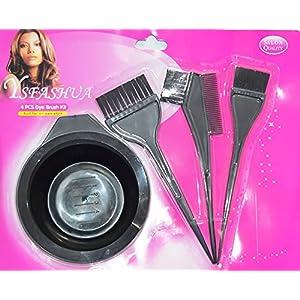 FULLY Salon Hair Color Dye Bowl And Comb Set, Brushes Kit Set Of 4 Pcs, Black Pack Of 1