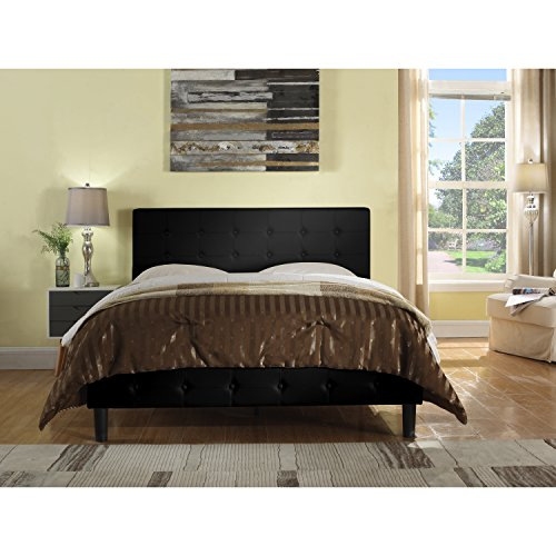 Rosevera Home Antonia Faux Leather Upholstered Platform Bed with Wooden slats, King