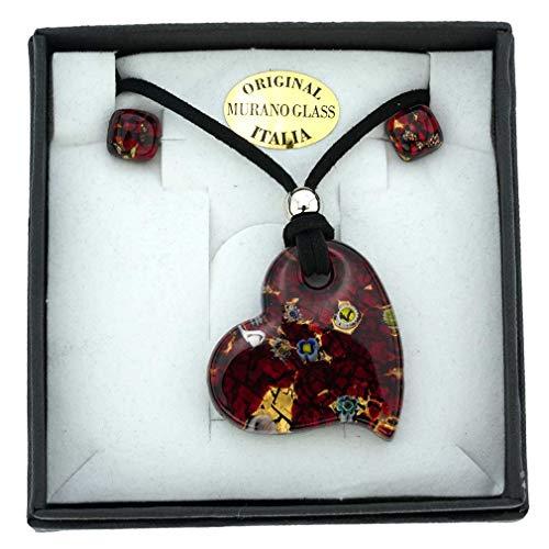 Glass Heart Earrings Free Ship - GlassOfVenice Murano Glass Venetian Reflections Heart Necklace and Earrings Set