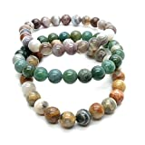 Agate Bracelet 11 - Set of 3 Botswana, Moss, Crazy Lace Stretch Round Stones