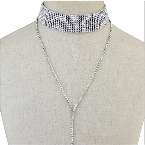 6 Rhinestone Choker Necklace - 1