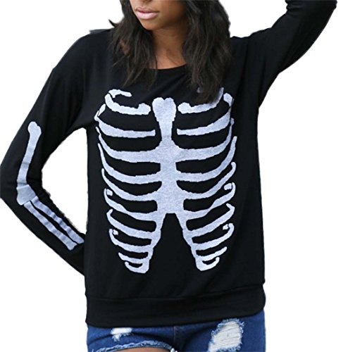 [Funny Rib Cage With Arms Skeleton Halloween Costumes T-Shirt For Girls Black X-large] (Womens Skeleton Costumes Tshirt)