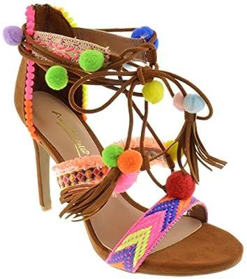 Truelove 43S Womens Embroidered Tie Up Fringe Block Heel Pom Pom Sandals