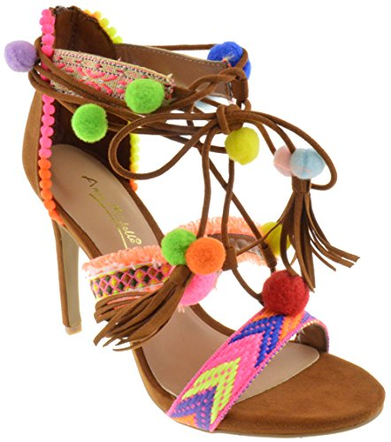- Truelove 43S Womens Embroidered Tie Up Fringe Block Heel Pom Pom Sandals Chestnut 7.5