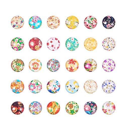 (Pandahall 1 Box(About 190pcs) 12mm Mixed Color Printed Half Round/Dome Glass Cabochons for Jewelry Making (Floral))