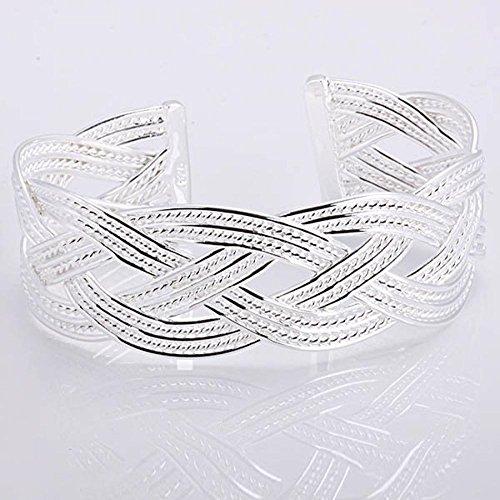 EZON-CH B033 Fashion Silver Plated Bangle Silver Bracelet Bangle Wide Cuff Open Large Detailed Plait Retro