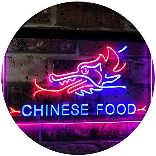 AdvpPro 2C Chinese Food Dragon Décor Dual Color LED Neon Sign Blue & Red 12