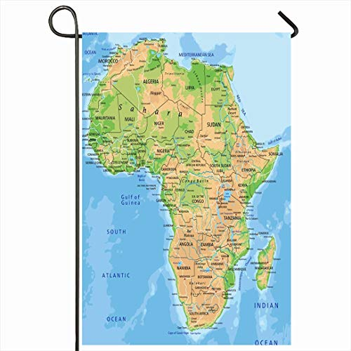 Ahawoso Outdoor Garden Flag 12x18 Inches African High Detailed Africa Physical Map Labeling Abstract Continent Madagascar South Relief Atlas Seasonal Home Decor Welcome House Yard Banner Sign Flags (Physical Geography Of Africa South Of The Sahara)
