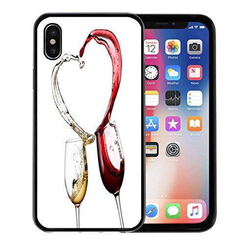Semtomn Phone Case for Apple iPhone Xs case,Love Red and White Wine Heart Splash Glass Valentine Day Still Swirl for iPhone X Case,Rubber Border Protective Case,Black ()