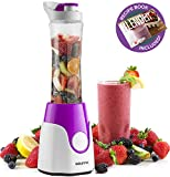 Gourmia GPB250 Personal Home Blender – BlendMate Smoothie Plus Edition – Included Travel Sport Bottle & Lid – Dual Action Blade – 250W – Purple – Free E-Recipe Book Included