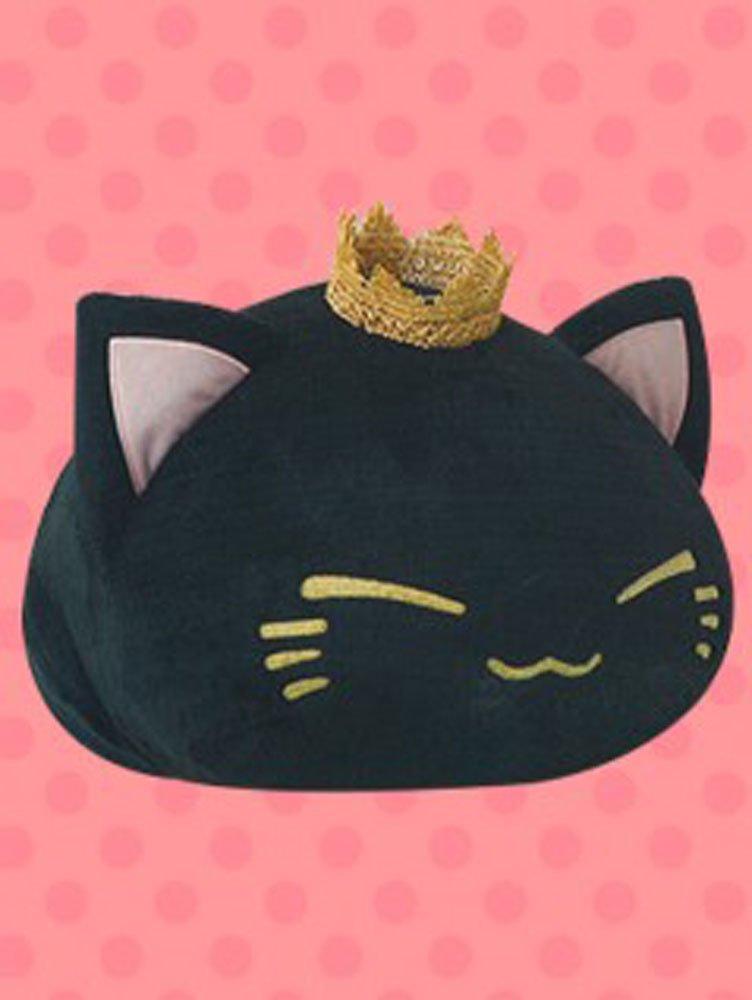FuRyu Nemuneko 15'' Fluffy Big Cat Plush With Crown - Black