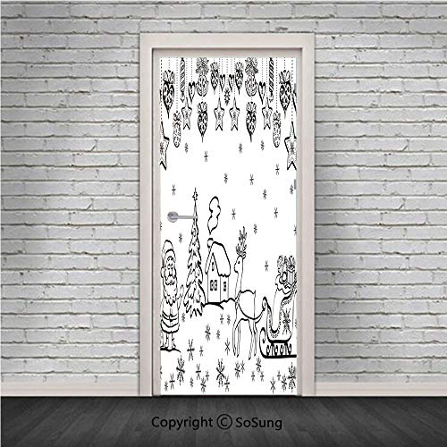 Christmas Decorations Door Wall Mural Wallpaper Stickers,Tree Ornaments Santa Sleigh Rudolph Reindeer Toys Jingle Bells Image,Vinyl Removable 3D Decals 30.4x78.7/2 Pieces set,for Home Decor Black Whit -