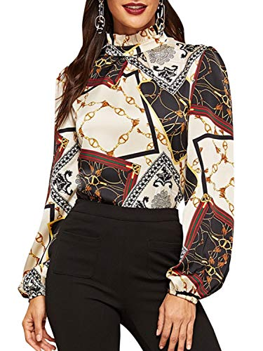 - BerryGo Women's Elegant Stand Collar Chain Print Office Blouse