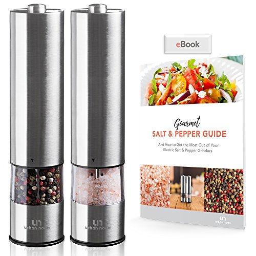 Electric Salt and Pepper Grinder Set - Battery Operated Stainless Steel Mill with Light (Pack of 2 Mills) - Electronic Adjustable Shakers - Ceramic Grinders - Automatic One Handed Operation