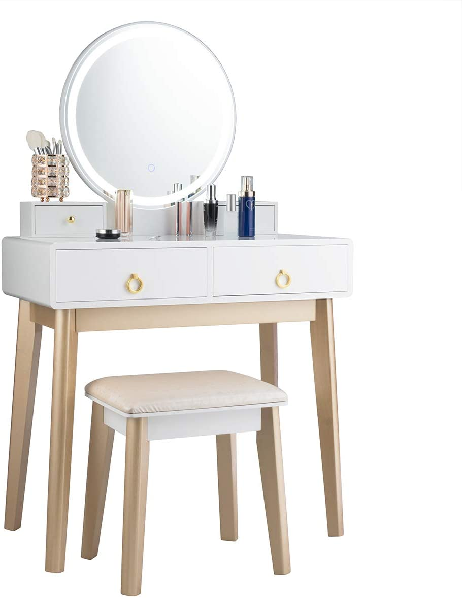 GOFLAME Vanity Table Set 3 Color LED Lighting Modes Touch Screen Dimming Mirror, Jewelry Divider Dressing Table with Round Mirror and Soft Cushioned Stool, 4 Drawers Storage Shelf, White