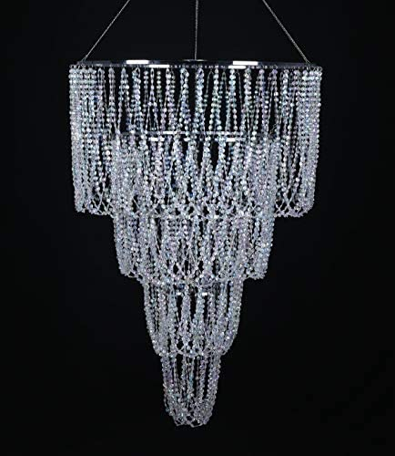 FlavorThings 4 Tiered Large Wedding Chandelier,Faux Crystal Iridescent Beaded Swag Chandelier, 24 Wide 3 Ft Long,Great idea for Wedding Centerpieces Decorations and Any Event Party Home Decor