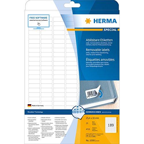 Herma 10001 Preisetiketten ablösbar, wieder haftend (25,4 x 10 mm auf DIN A4 Papier, matt, Movables) 4.725 Stück auf 25 Blatt, weiß, bedruckbar