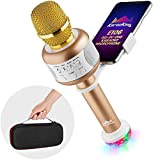 KaraoKing Wireless Compatible With Bluetooth Karaoke Microphone - Portable Karaoke Machine with Speaker + USB Disco Light & Phone Holder Perfect for Pop, Solo, Rock n' Roll Parties(E106 2.0 Gold)