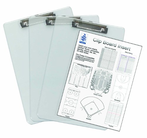 Insert Clipboard,see-thru 3 Pack, Transparent, Insert Documents You Need to See Quickly Between the Transparent Acrylic Sheets for Quick Reference. Both Sides Remain Visible. Dry Erase Compatible (Dry Erase Inserts compare prices)