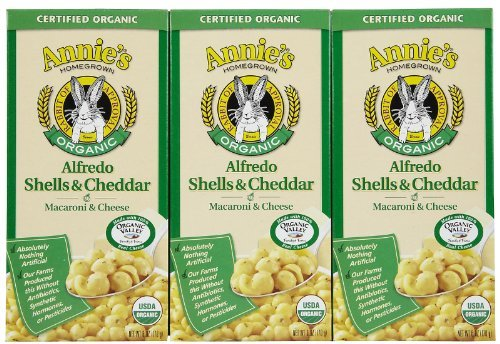 Annie's Homegrown Organic Macaroni and Cheese-Alfredo Shells and Cheddar-6 Oz-3 Pack by Annie's Homegrown