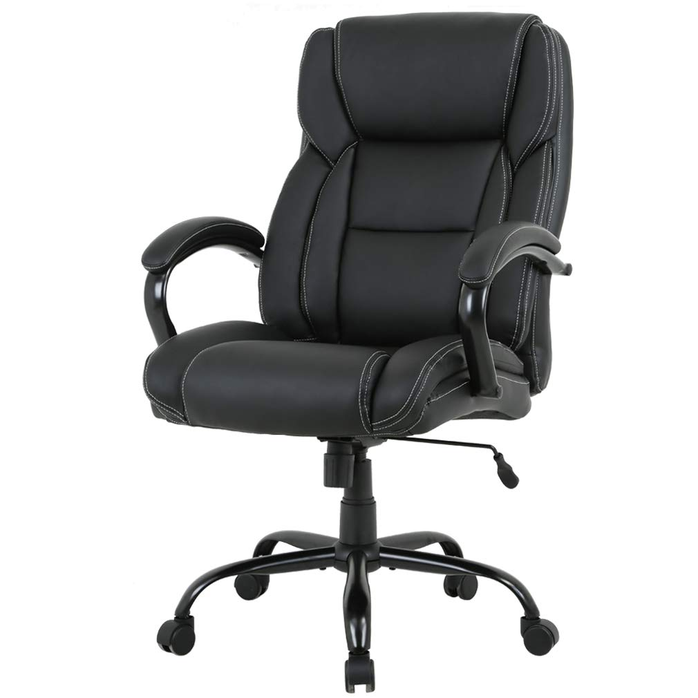 High-Back Big and Tall 500lb Home Office Chair,Ergonomic PU Executive Chair with Lumbar Support Headrest Swivel Chair for Women, Men (Black)