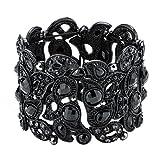 Angel Jewelry Women's Crystal Flower Stretch Cuff Bracelet
