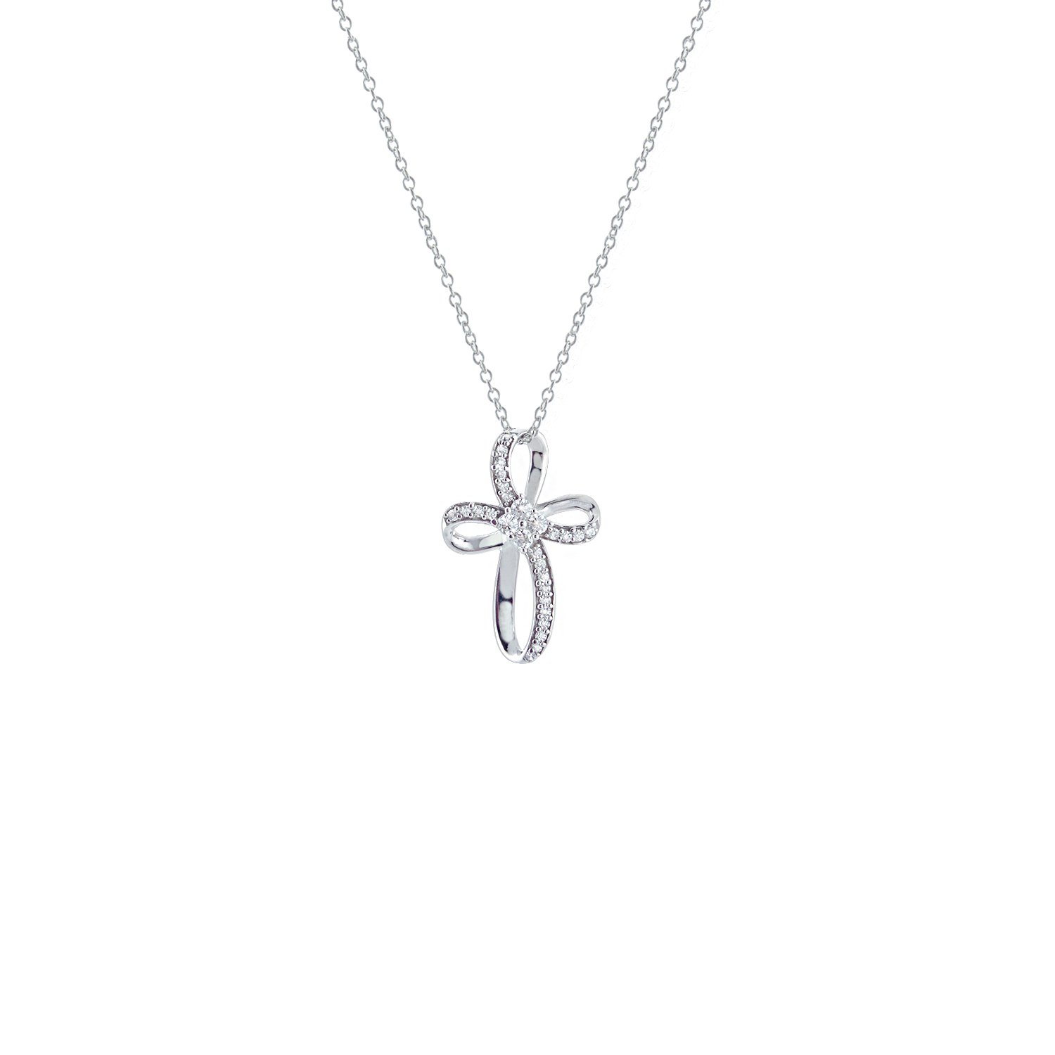 DiscountHouse4you Round Cut 0.25 Ct White Gold Finish 925 Sterling Silver Infinity Cross Pendant Necklace 18 Chain for Easter