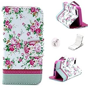 Mini - White Floral Pattern PU Leather Case and Mini Display Stand with Diamond Dust Plug for iPhone 5/5S