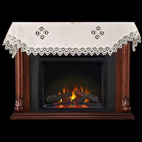Fireplace Mantel Scarf with White Peacock Lace on White 19