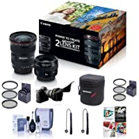 Canon EF 17-40mm f/4L USM / EF 50mm f/1.4 USM, Advanced 2 Lens Kit - Bundle With 58mm Filter Kit, 77mm Filter Kit, Flex Lens Shade, Cleaning Kit, 2x Capleash, Lens Case, Sotware Package