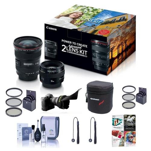 Canon EF 17-40mm f/4L USM / EF 50mm f/1.4 USM, Advanced 2 Lens Kit - Bundle With 58mm Filter Kit, 77mm Filter Kit, Flex Lens Shade, Cleaning Kit, 2x Capleash, Lens Case, Sotware Package (Best 17 50mm Lens For Canon)