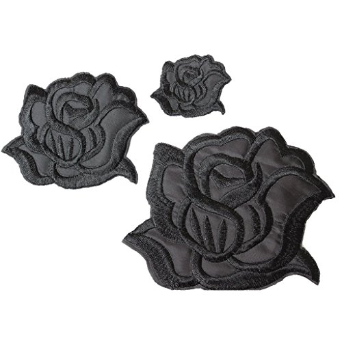 U-Sky Sew or Iron on Patches - Cool Black Rose Patch for Clothing Jackets - 3pcs Different Size Pack - 4.2x3.3 inch, 3.1x2.4 inch, 1.6x1.3inch