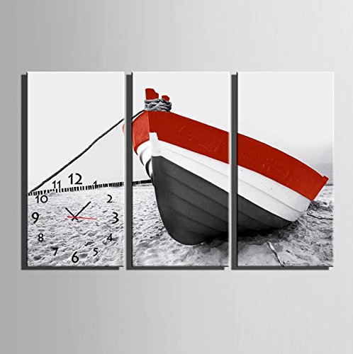 GL&G Inkjet Prints The boat on the beach Modern decorative painting Creative Art Bedroom Living Room Restaurant wall clock Frameless painting,3pcs,4080cm by GAOLIGUO