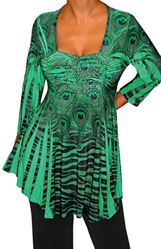 Funfash Plus Size Women Slimming Green Black Rhinestones Top Blouse Made in USA
