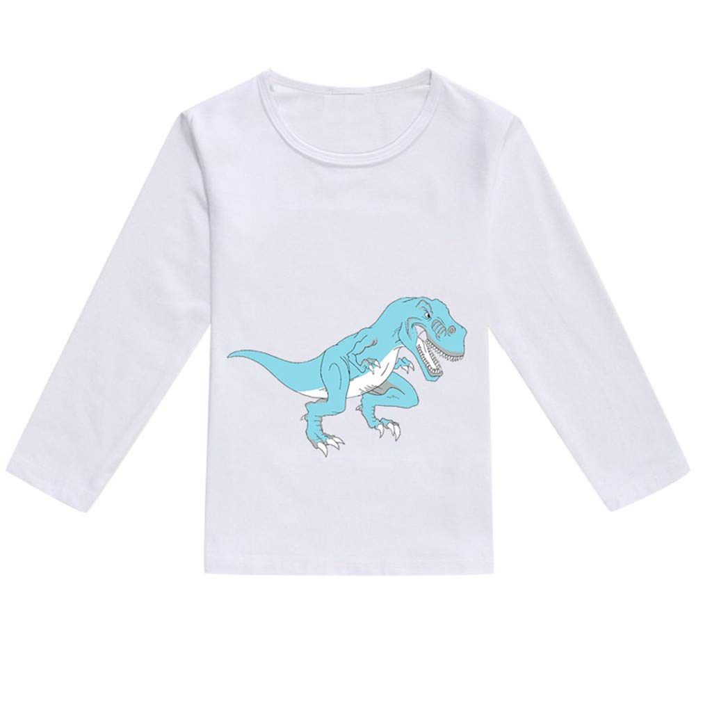 NUWFOR Toddler Baby Kids Boys Girls Spring Dinosaur Print Tops T-Shirt Casual Clothes(Blue,2-3 Years)