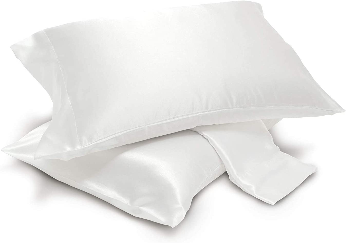Pack of 2 Satin Pillowcases Pair, Silky Soft, Cool and Breathable (King, White)