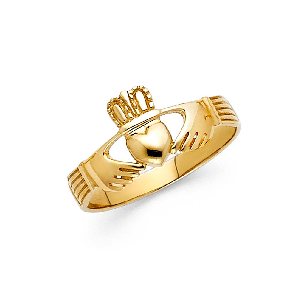 Wellingsale Ladies Solid 14k Yellow Gold Polished Friendship and Love Irish Claddagh Right Hand Fashion Ring - Size 6