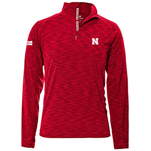 Nebraska Cornhuskers Adult Men Mobility Insignia Strong Style Quarter Zip Mid-Layer, Large, Flame Red ()
