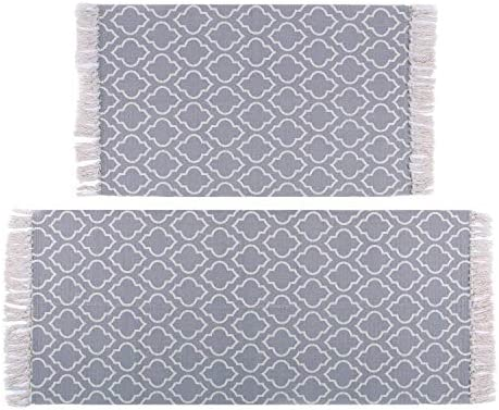 U Artlines Cotton Area Rug with Tassels Hand Woven Printed Rug Mat Kitchen Runner Washable Entryway for Bedroom, Kitchen, Laundry Room 2 x3 2 x4.2 , Moroccan Trellis